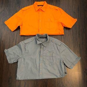 Sean John shirts linen blend short sleeve cuffed